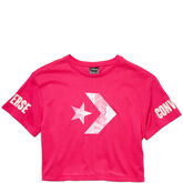 Women Floral Fill Star Chevron Mesh Easy Crop Tee Pink Pop