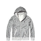 Converse Essentials Leopard Full Zip Hoodie  Light Grey Heather Multi