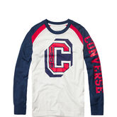 Long-Sleeve Collegiate Raglan Tee White
