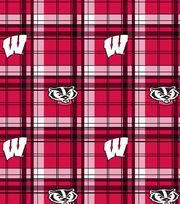 University of Wisconsin NCAA Plaid Fleece Fabric, , hi-res