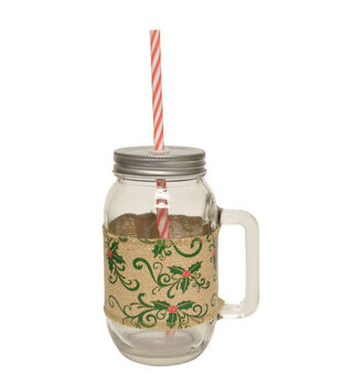 24oz Glass Jar with Printed Burlap Band-Holly Leaves