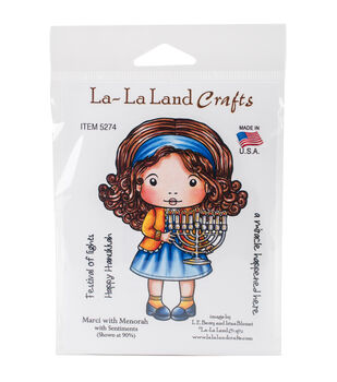 La-La Land Crafts Cling Stamps-Marci With Menorah