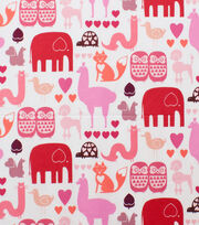 Alexander Henry Cotton Fabric-I  Heart  Animals Pink Tonal, , hi-res