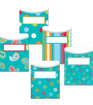 Dots-On-Turquoise Collection: Library Pockets