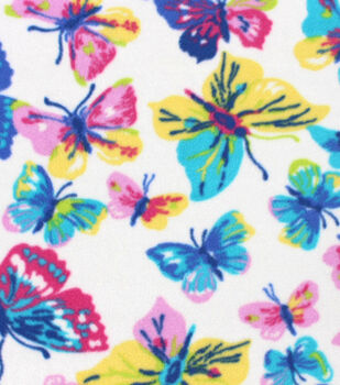 Anti-Pill Fleece Fabric - Pastel Butterflies