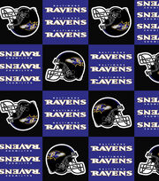 Baltimore Ravens NFL Block Fleece Fabric by Fabric Traditions, , hi-res