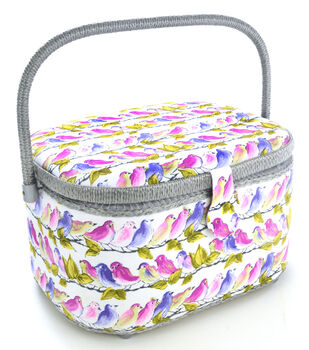 Dritz Sewing Basket Large Oval-Birds