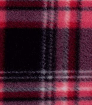 Blizzard Fleece Fabric- Red Black Plaid