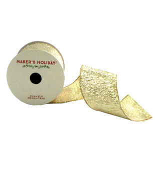Maker's Holiday 2.5'' X 25' Ribbon-Gold/Silver Twinkle