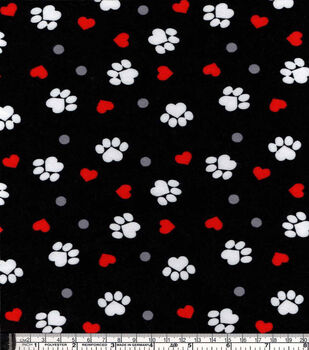 Snuggle Flannel Fabric-Paw Prints And Hearts On Black