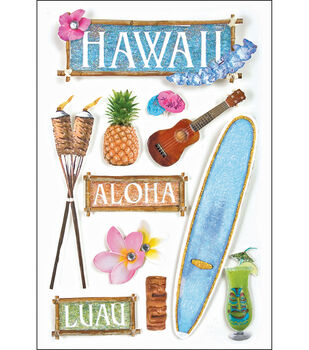 Paper House Travel 3-D Stickers-Hawaii