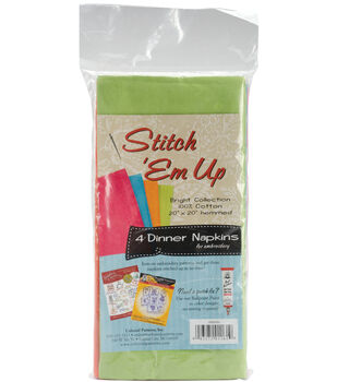 Stitch 'em Up Dinner Napkins For Embroidery 4/Pkg-Bright Collection