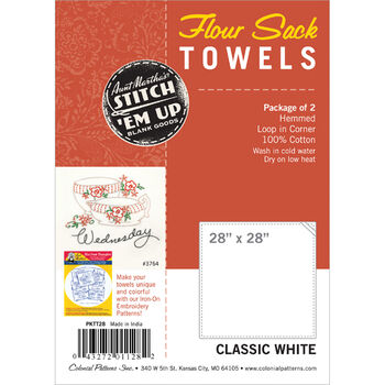 "Flour Sack Towels 28""X28"" 2/Pkg-White"