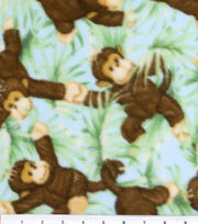 Nursery Fabric Jungle Babies Fleece Monkey All Over, , hi-res