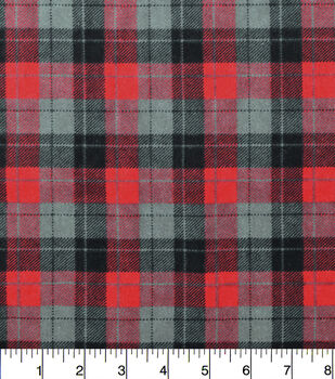 Snuggle Flannel Fabric-Skylar Red Black Plaid
