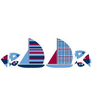 Wall Pops Regatta Boats Wall Decal Kit, 32 Piece Set