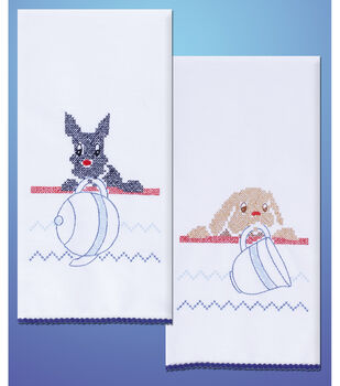 Tobin Stamped Kitchen Towels For Embroidery Dogs