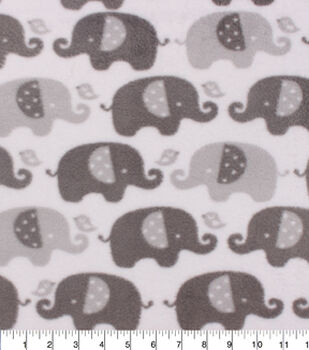 Nursery Fleece Fabric-Grey Elephant In Line