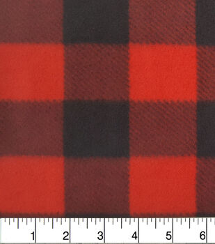 Anti Pill Fleece Fabric-Red Buffalo Check