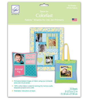 """June Tailor Colorfast Sew-In Inkjet Fabric Sheets-8-1/2"""" x 11""""-25/Pkg"""
