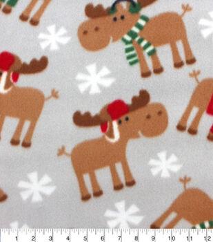 Blizzard Fleece Fabric-Winter Moose