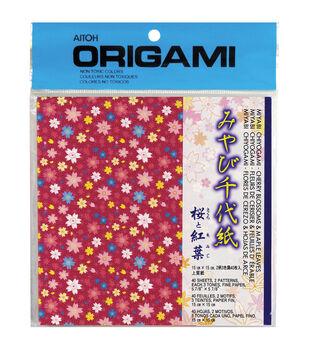 Aitoh Blosoms & Maple Leaves Origami Paper 40/Pkg