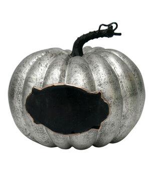 Pumpkin Boutique Medium Short Pumpkin With Chalkboard-Silver