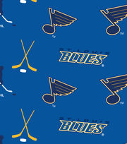 St. Louis Blues NHL Tossed Print Fleece Fabric, , hi-res
