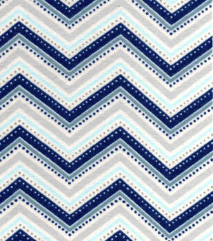 Snuggle Flannel Fabric-Navy Grey Chevron