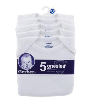 Gerber White Onesies-5PK/0-3 Months