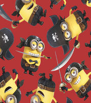 Minions Pirates Red Fleece Fabric, , hi-res