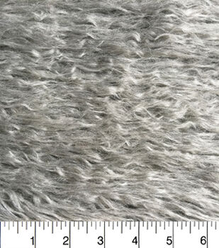 Fashion Faux Fur Fabric-Long Grey Crinkle