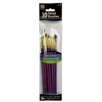 Loew-Cornell Nylon Detail Brush Set 10Pk-White