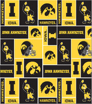 University of Iowa NCAA Block Fleece Fabric, , hi-res