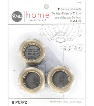 "Dritz Home 1"" Round Grommet Medium 8pcs Antigue Gold"