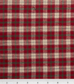 Flannel Shirting Fabric Red Beige