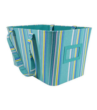 Organizing Essentials™ Tapered Bin-Blue/Green Stripe