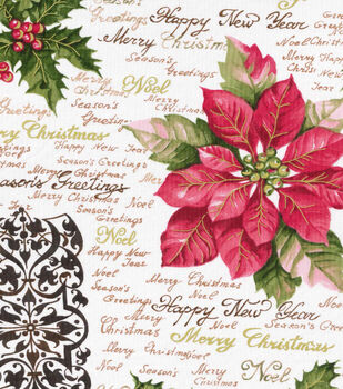 Holiday Inspirations™ Christmas Fabric-Poinsettia & Holly Script Metallic