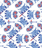 Minions British Google White Cotton Fabric, , hi-res