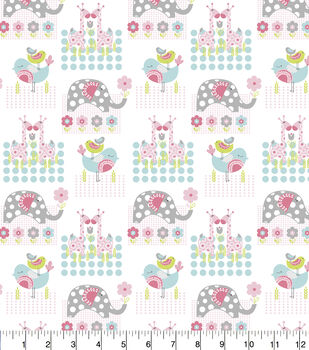 Nursery Flannel Fabric-Jungle Animals Square