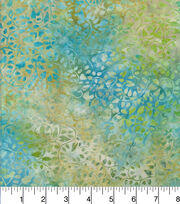 Batik Cotton Fabric - Curly Vine Blue Green, , hi-res