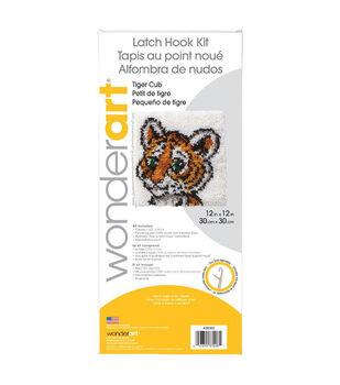"""Wonderart Latch Hook Kit 12""""X12""""-Tiger Cub"""