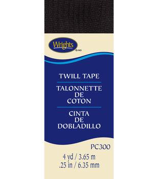 """Wrights Twill Tape-1/4""""W x 4yds Black"""