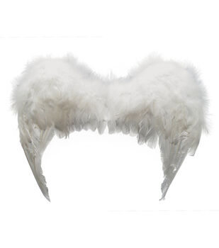 Maker's Halloween Deluxe Feather Angel Wings-White