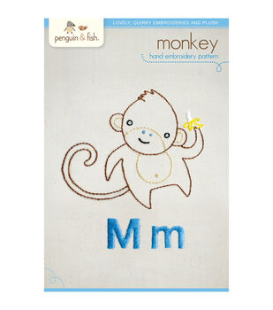 Penguin & Fish Embroidery Patterns-Monkey