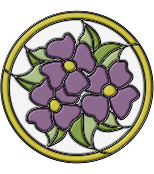 Stained Glass Pansy Medallion Purple 9""