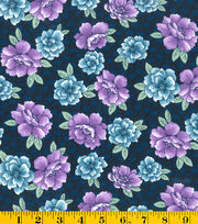 Made In America Cotton Fabric-Main Floral Blue, , hi-res