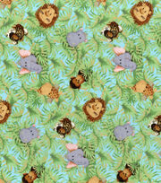 Nursery Print Fabric Jungle Babies A/O, , hi-res