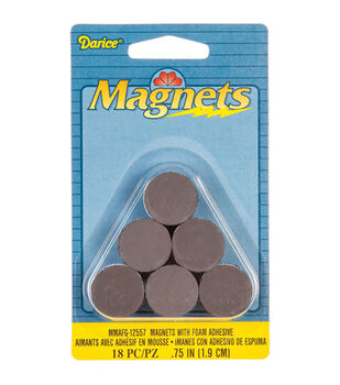 "Round Magnets with Foam Adhesive -.75"" 18/Pkg"