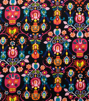 Alexander Henry Cotton Fabric-Calaveras Del Mar Black Brite, , hi-res